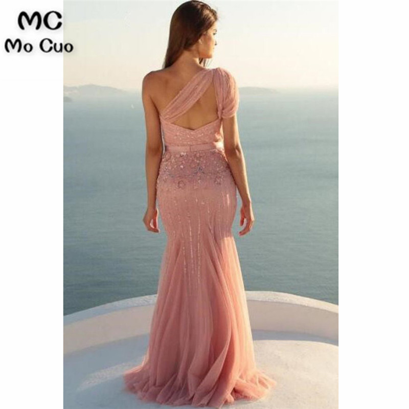 Unique Mermaid One Shoulder Tulle With Beads and Sash Prom Dresses, Evening Dress4