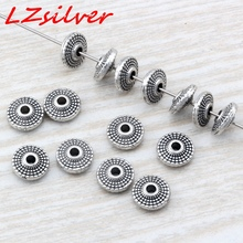 Hot Sale !  20pcs 8X3mm Antique silver Zinc Alloy Round Disc Dotted Beads Spacer DIY Jewelry D9