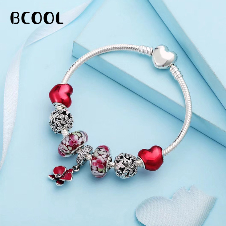 BCOOL 100% 925 Sterling Silver 1:1 Original Copy 2019 Womens Bracelet Red Crystal Beads Charm Jewelry Silver Free PackageBCOOL 100% 925 Sterling Silver 1:1 Original Copy 2019 Womens Bracelet Red Crystal Beads Charm Jewelry Silver Free Package