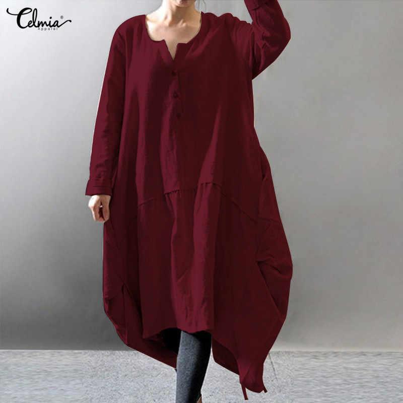 e3f138720d527 Celmia Women Vintage Linen Dress 2019 Autumn Long Sleeve Asymmetric Shirt  Dresses Buttons Casual Loose Midi Vestidos Plus Size