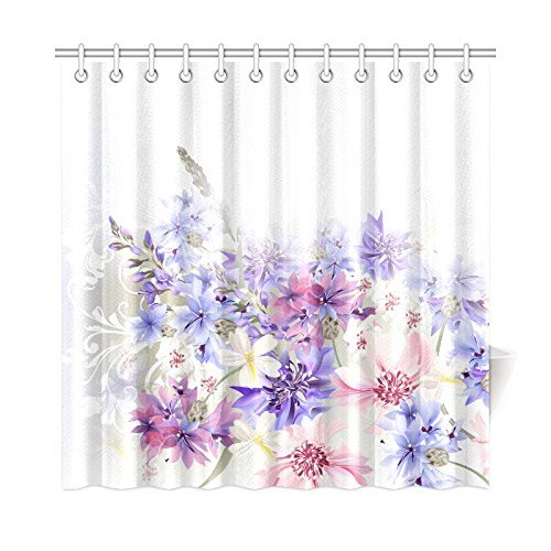 Aplysia Lavender Shower Curtain Purple Pink Cornflowers Classic ...