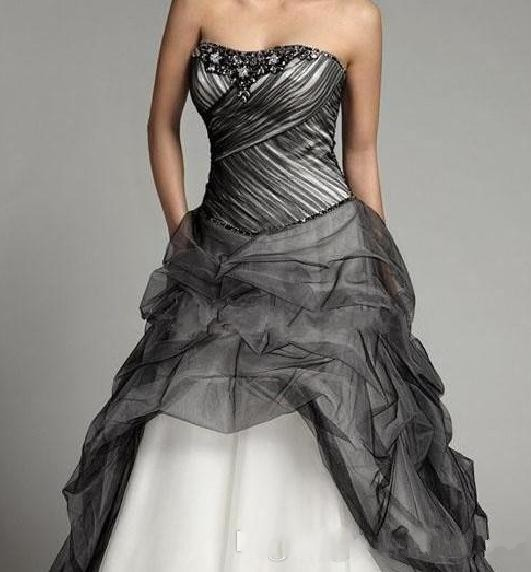Plus Size Gothic Black Tulle Wedding Dress Sweetheart Beaded Crystal Ball Gown Gowns Floor Length Organza Bridal In Dresses From