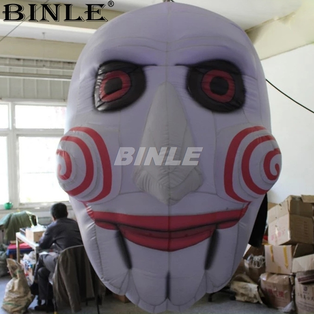 Festival airblown scary inflatable clown mask ghost head with led lights for halloween decoration