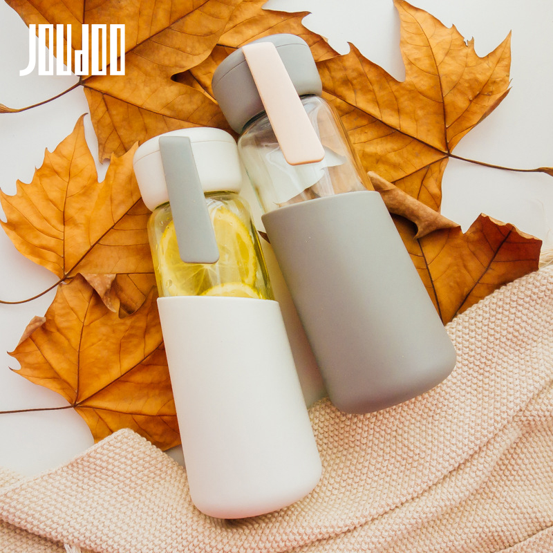 JOUDOO 400ML Portable My Glass Water Bottle Silicone Drinking Coffee Water For Bottle Travel Glass Tumbler Bottles 35|Water Bottles|   - AliExpress