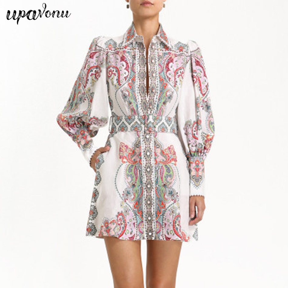 2019 piste Designer imprimer élégant femme Mini robe bulle à manches longues compte Style rétro courte robe vacances Occupation Vestidos