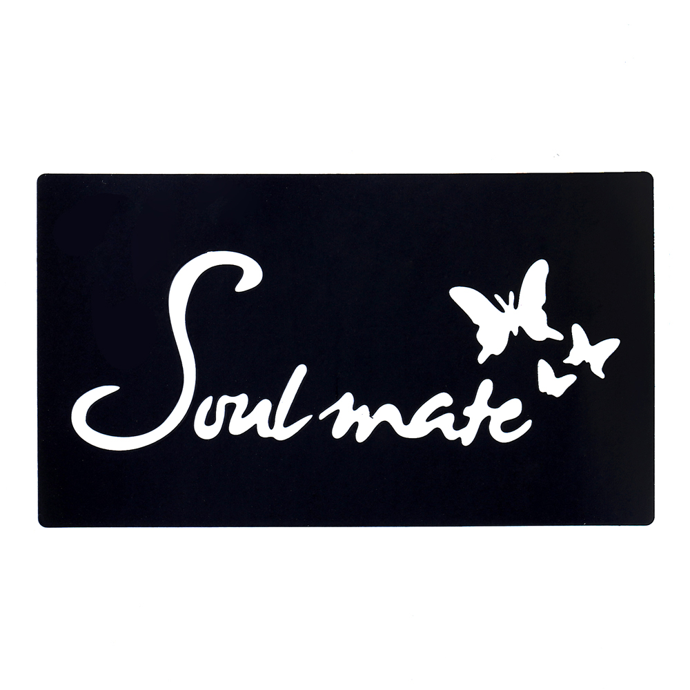 1pc Diy Stencil For Henna Waterproof Tattoo Butterfly Soulmate Word