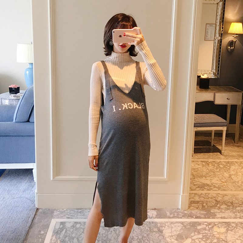 цены на 2018 new pregnant women autumn suit fashion models pregnant women tops bottoming sweater vest dress two pieces в интернет-магазинах