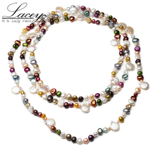 Colorful Real Natural Freshwater Pearl Necklace For Women,fashion Long Pearl Necklace 160 Cm,beautiful Baroque Pearl Necklace beautiful rare 18 33mm baroque black keshi reborn pearl necklace