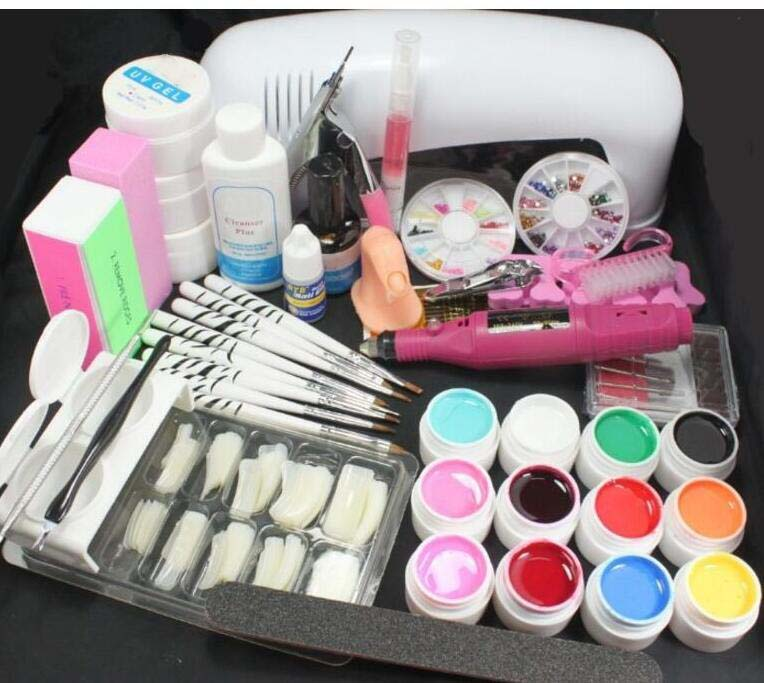 Free Shipping PRO FULL 9W UV White Lamp Electric nail machine 12 Color Pure UV GEL 8 Zebra Acrylic Brush Nail Art KIT Gel Set nail art uv gel kit with 9w uv curing lamp light color assorted