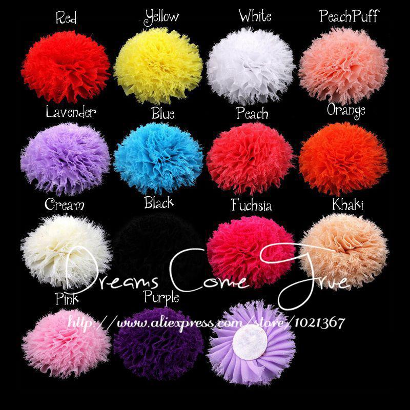 """Ev ve Bahçe'ten Yapay ve Kurutulmuş Çiçekler'de 200 adet/grup 3.6 """"14 Renkler Moda Yapay Chic Yıpranmış Şifon Çiçek saç aksesuarları Kız Bebek Kafa Bantları Için/Elbise/ ayakkabı'da  Grup 2"""