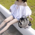Korean Fashion Clothing Casual Tops For Women Hot Sale Plain White And Black Off The Shoulder Blouse