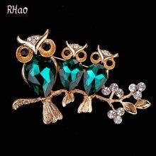 RHao женские броши в виде животных, для девочек, платья, ювелирные изделия, брошь на заколках, зеленая ариловая 3 Сова, брошь для женщин, свадебн...
