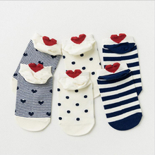 3Pair High Quality Casual Funny Socks Short Ankle Heart Design Heel Socks Floor Meias Spring Sox Hosiery Female Wholesale