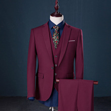 (Jacket+Vest+Pants) Brand Men Suits Slim Fit Blazers Red Bule Men's Wedding Suits With Pants Business Mens Formal Wear Tuxedos