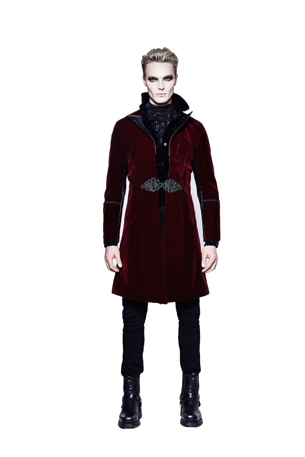 Gothic Style Red Men Duster Fashion Long Coat Weft Velveteen Chinoiserie Windbreaker Fake Two-Piece Embroidery Button Coat