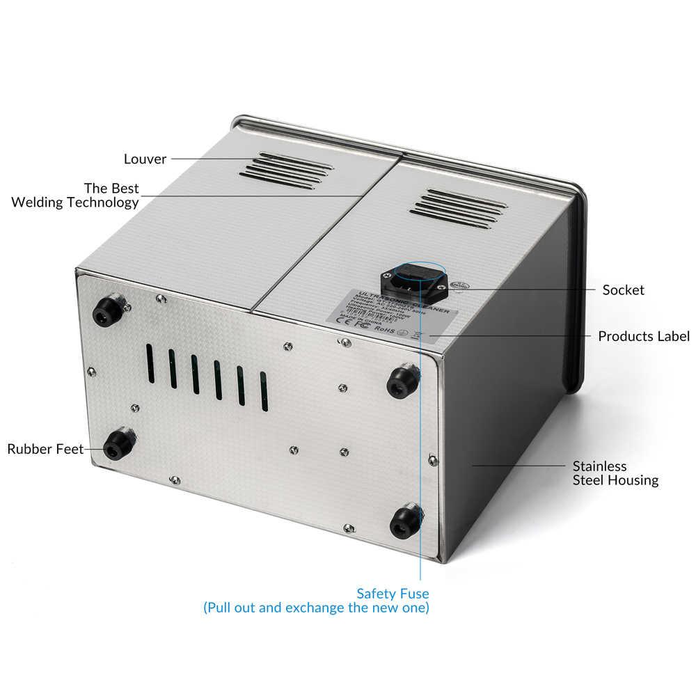 Gtsonic Ultrasonic Cleaner Mandi 3L 40 K Hz 100W Logam Keranjang Mesin Ultrasound Gigi Perhiasan Jam Tangan Kacamata Alat Bagian