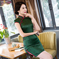 Green Elegant Chinese Womens Grosgrain Stain Cheongsam Hot Sale Traditional Style Mini Qipao Dress Vestido Size S M L XL XXLQP60