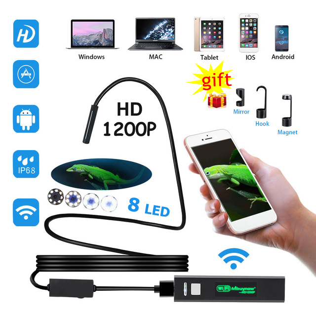 1200P HD WiFi Endoscope Camera Waterproof Android USB Softwire Rigid Hardwire Borescope Mini Camera 8mm For Iphone Android PC