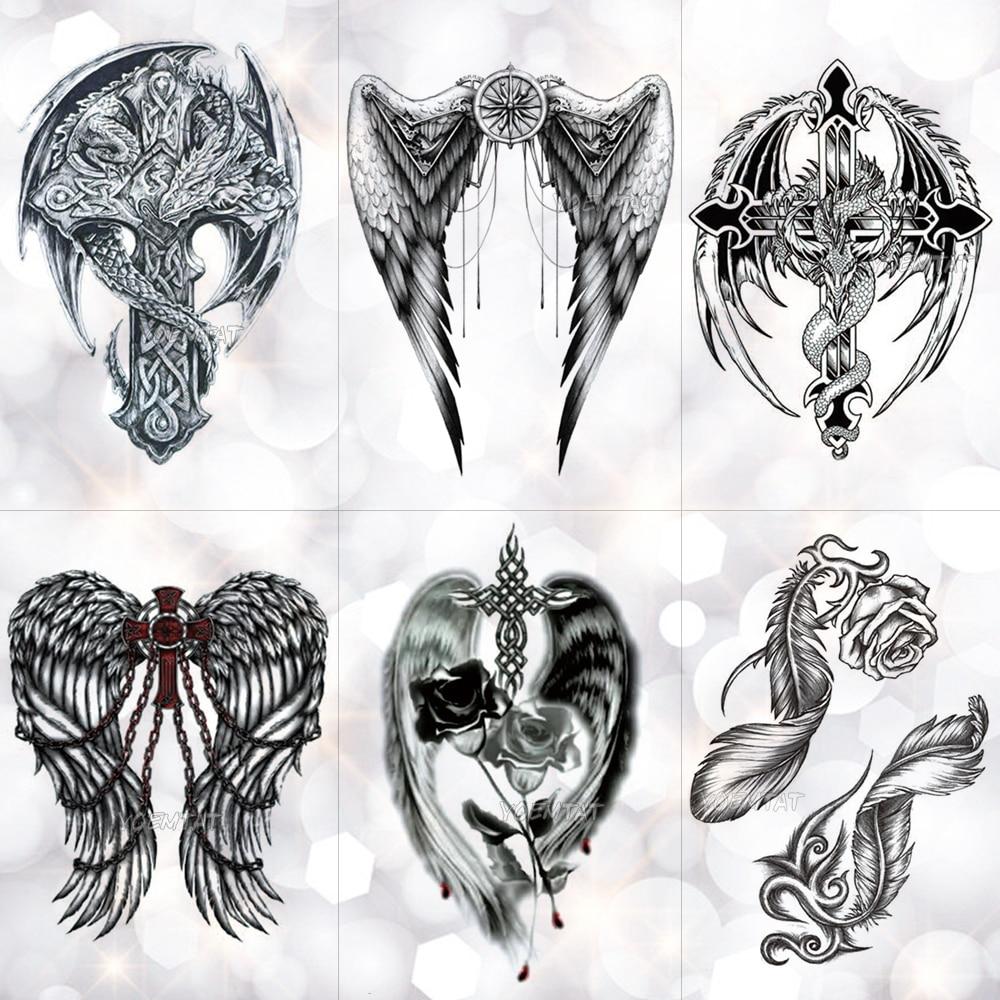 Feather Wings Cross Watercolor Temporary Tattoo Sticker Warrior Rose  Holy Waterproof Tattoos Body Art Arm Fake Tatoo Men Women