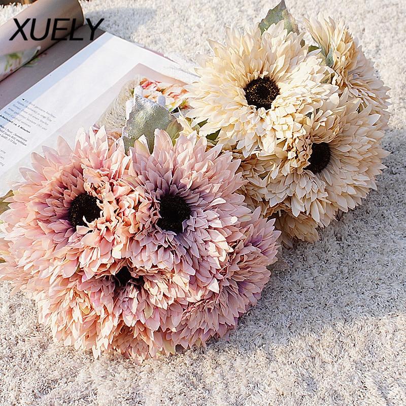 Многослойный букет солнцезащитных цветов, 6 головок, флокирующие руки, Гербера, искусственные цветы, хризантемы, украшение для дома, свадебн...