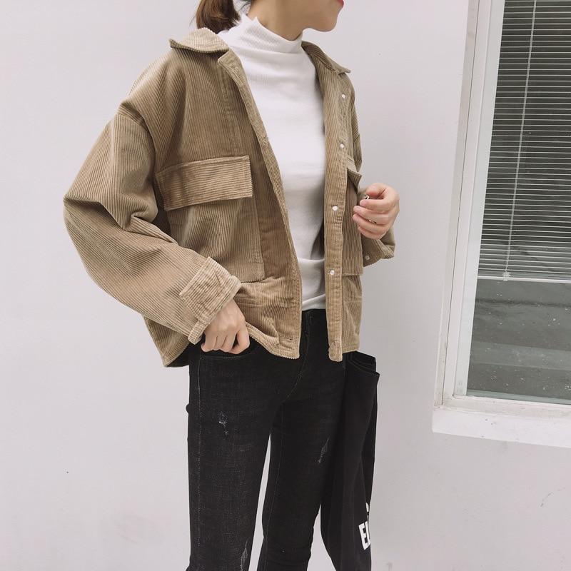 Velvet Corduroy Short Jackets Women 2019 Long Sleeve Windbreaker Women Coat Autumn Vintage Basic Outerwear Soft Casual Female