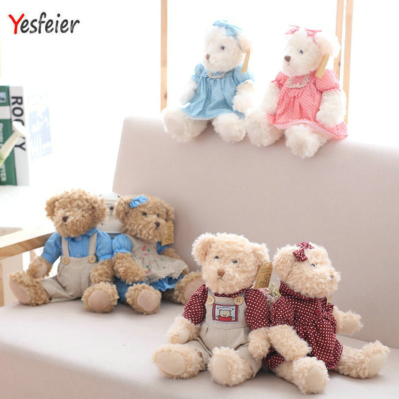 2 pcs/pair 26cm Lovely Couple Teddy Bear With Cloth Plush Toys Dolls Stuffed Toy Kids Baby Children Girl Birthday Christmas Gift fancytrader biggest in the world pluch bear toys real jumbo 134 340cm huge giant plush stuffed bear 2 sizes ft90451