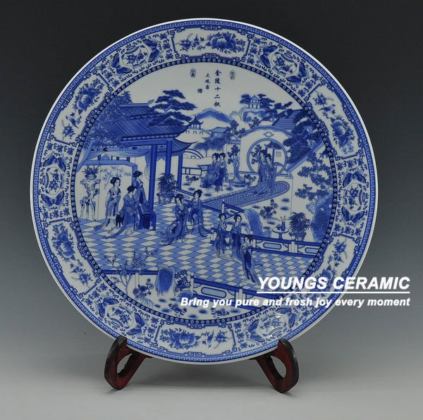 Chinese Antique Blue White Porcelain Wall Decorative ...