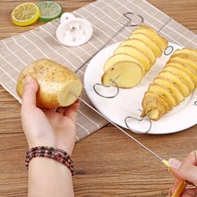 DIY Potato Spiral Cutter Slicer Chips  4 spits Tower Making Twist Shredder Cooking Tools