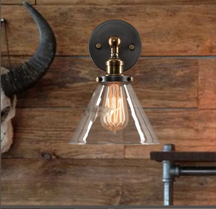 wall lamp iron bedside  LOFT American country creative personality European Hotel Der Bar industry staircase loft american edison vintage industry crystal glass box wall lamp cafe bar coffee shop hall store club