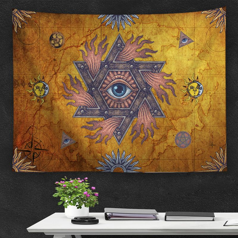 Bohemian Style Tapestry Classic Sun Theme Wall Hanging Tapestry Polyester Fabric Printed Wall Decor Beach Towel Bedspread