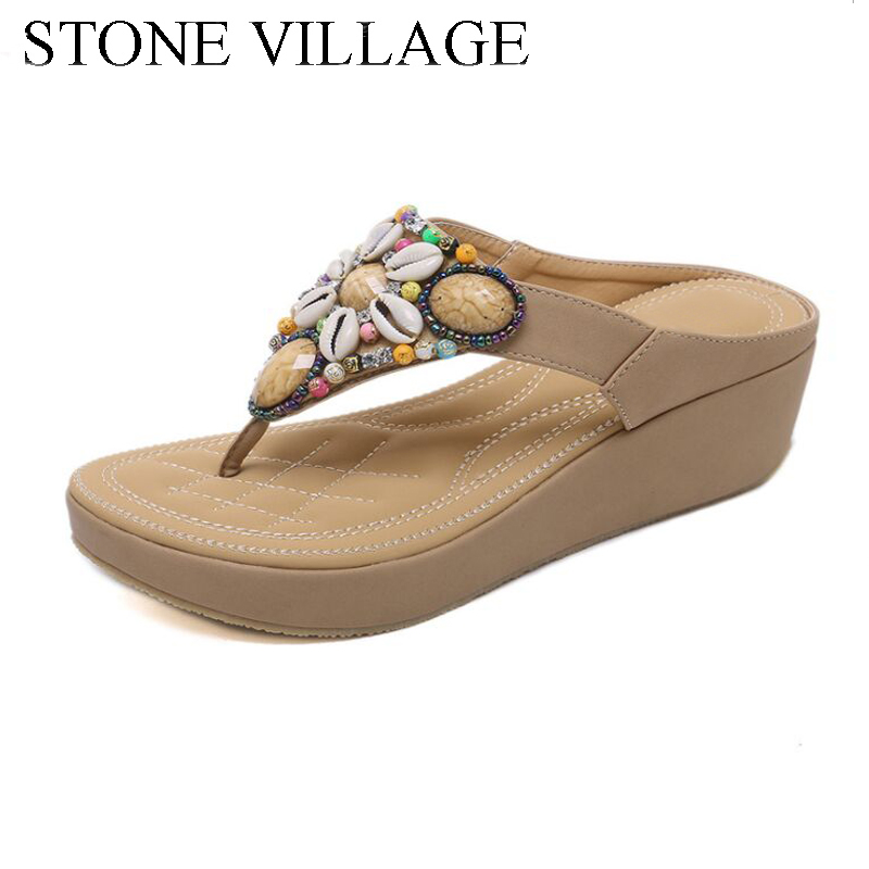 Summer Shoes Bohemia Casual Women Shoes String Bead Flip Flops High Hell 5.5 Cm Wedges Women Sandals Outdoor Beach Slippers fashion string bead platform women sandals bohemia beach wedges ladies sandals shoes plus size 10 5 high heel sandals klp00160