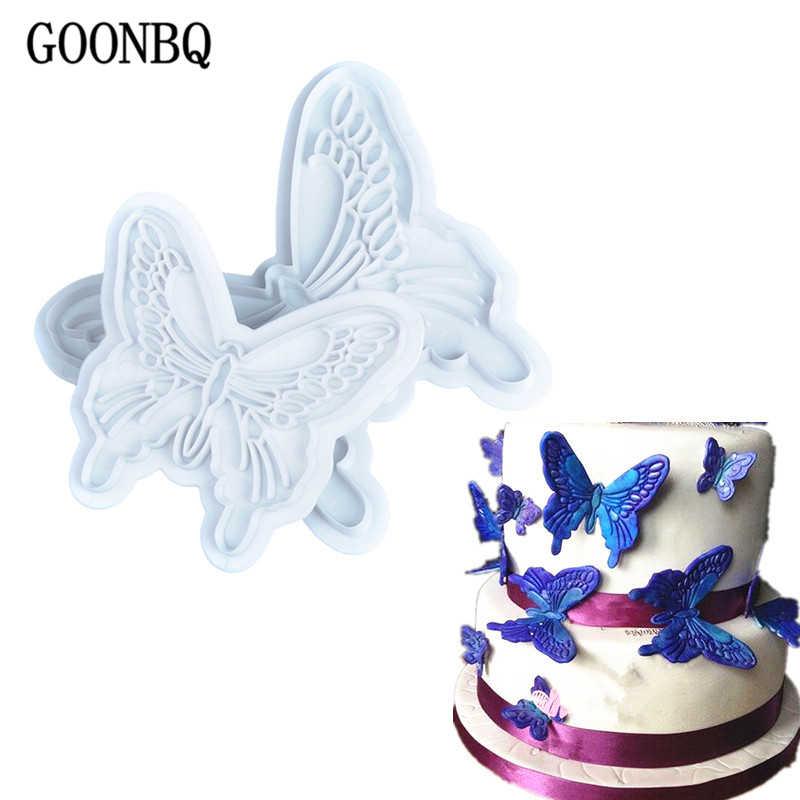GOONBQ 2 ชิ้น/เซ็ตแม่พิมพ์เค้กผีเสื้อผีเสื้อพลาสติกลูกไม้เค้ก Plunger Cutters งานแต่งงาน Fondant เค้กตกแต่งแม่พิมพ์