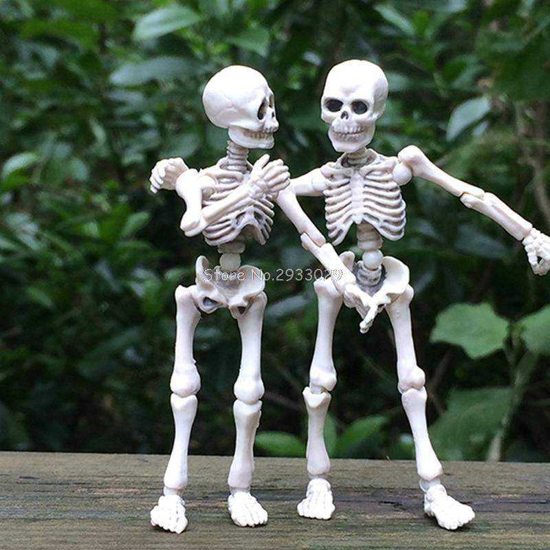 Movable Mr. Bones Skeleton Human Model Skull Full Body Mini Figure Toy Halloween -B116 halloween decor fake human bones lifelike plastic skeleton haunted house decorations props loose bones 28 pieces