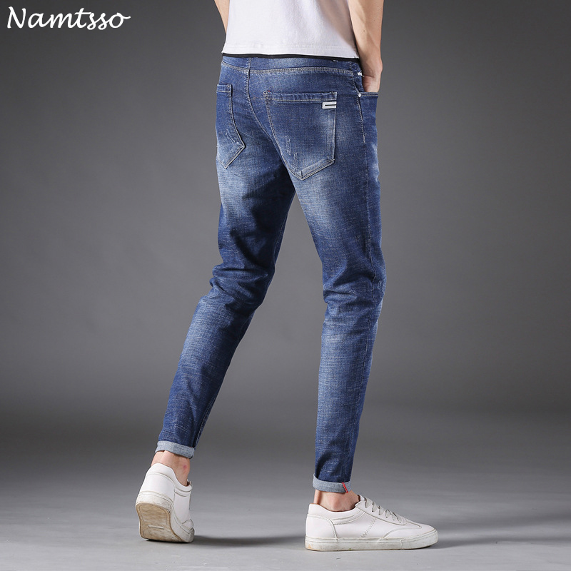 Summer new mens thin section fashion personality comfortable soft breathable wild cat must-have stretch leg jeans
