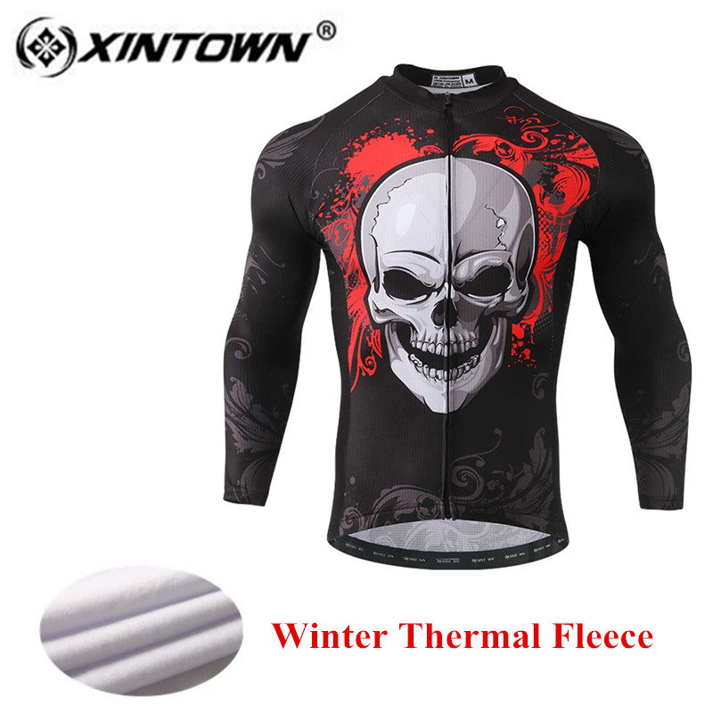 XINTOWN Skeleton Cycling Jersey men 2018 Thermal Fleece Warm Windproof Winter Bike Long Clothing Bicycle Clothes Riding T-Shirt