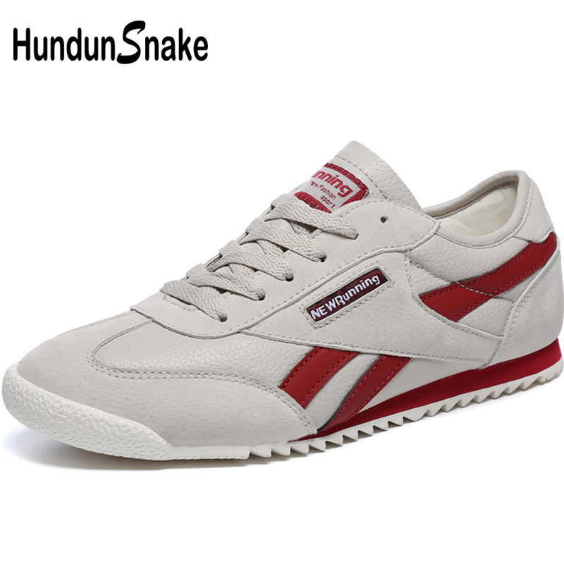 Hundunsnake Grey Leather Man Sneakers Men Sport Shoes Woman Running Shoes For Men Light Weight Men's Sports Shoes Athletic T622