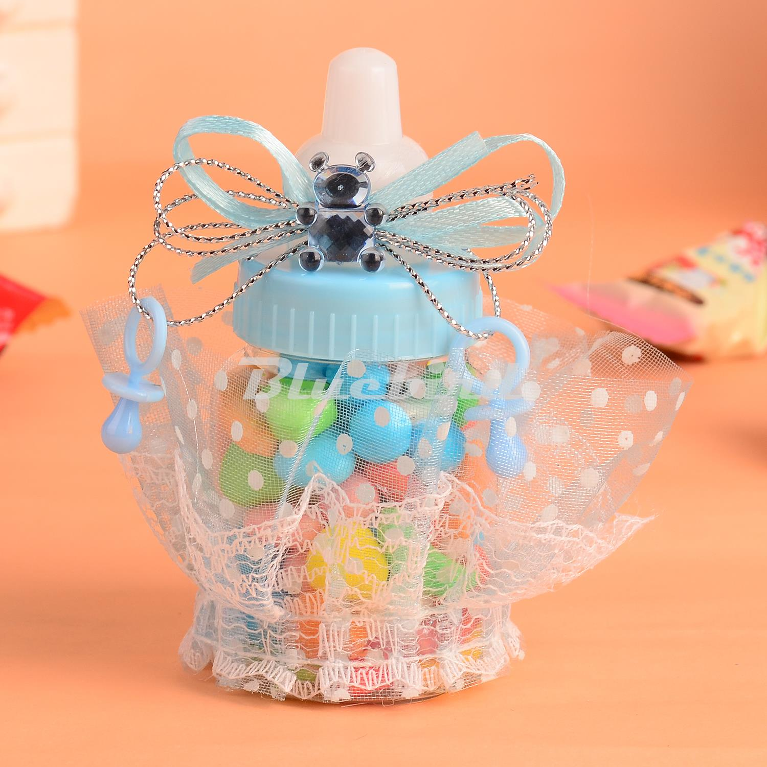 12pcs pinkblue baby shower candy bottle baptism christening birthday gift favors candy box bottle