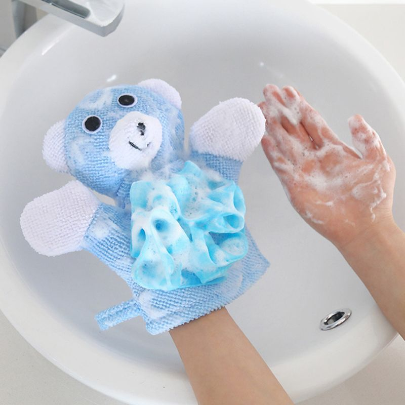 Soft Children Bath Towels Brushes Baby Animal Cartoon Shape Bath Gloves Bath Towel For Children's Bath Clean Wash Massage Shower
