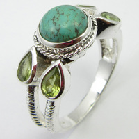 Solid Silver Round, Drop Turquoises, Peridots Ring Size 8 Art Gift Unique Designed