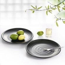 Round Plate Dish Shallow Japanese Style Creative Melamine Dinnerware Dinner Buffet plate A5 Tableware