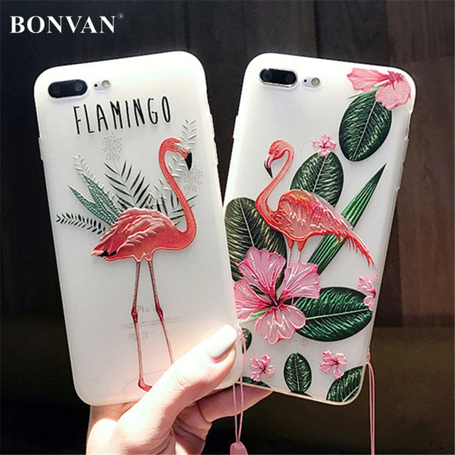 low priced 8323b dfe17 US $3.99 20% OFF|BONVAN For iPhone 7 7plus Case Cover Silicone 3D Relief  Flamingo tpu Soft Phone Case For iPhone 6 6s plus Translucent Coque Capa-in  ...