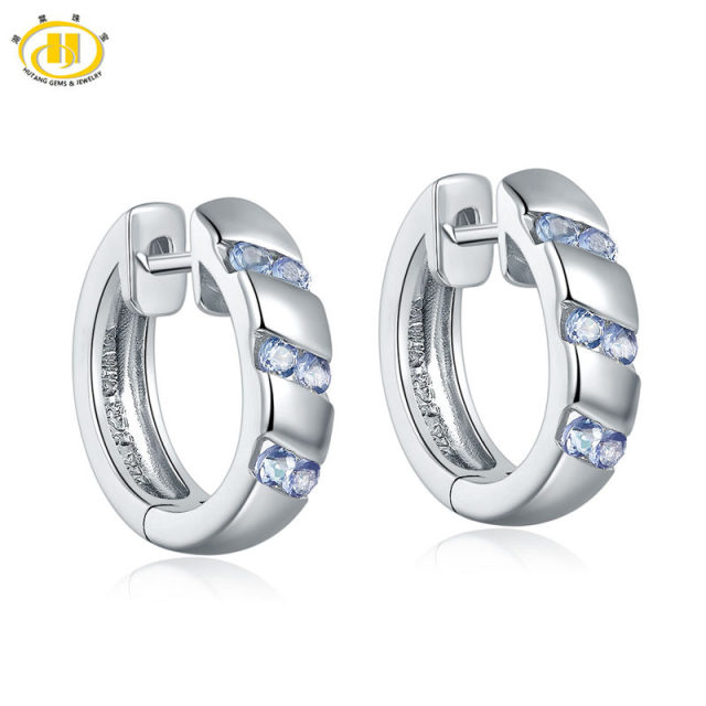 Hutang Natural Tanzanite Hoop Earrings Solid 925 Sterling Silver Women S Fashion Style Fine Jewelry