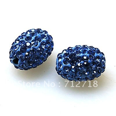 Bead,polyclay And Crystal,11*15mm Oval Pave Beads,lt Blue Color,sold 20 Pcs Per Package Superior In Quality