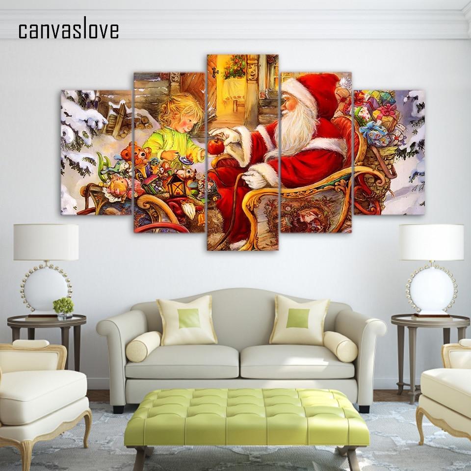 5 st ck leinwand hd drucken weihnachtsmann weihnachten malerei poster gem lde f r wohnzimmer - Poster wohnzimmer ...