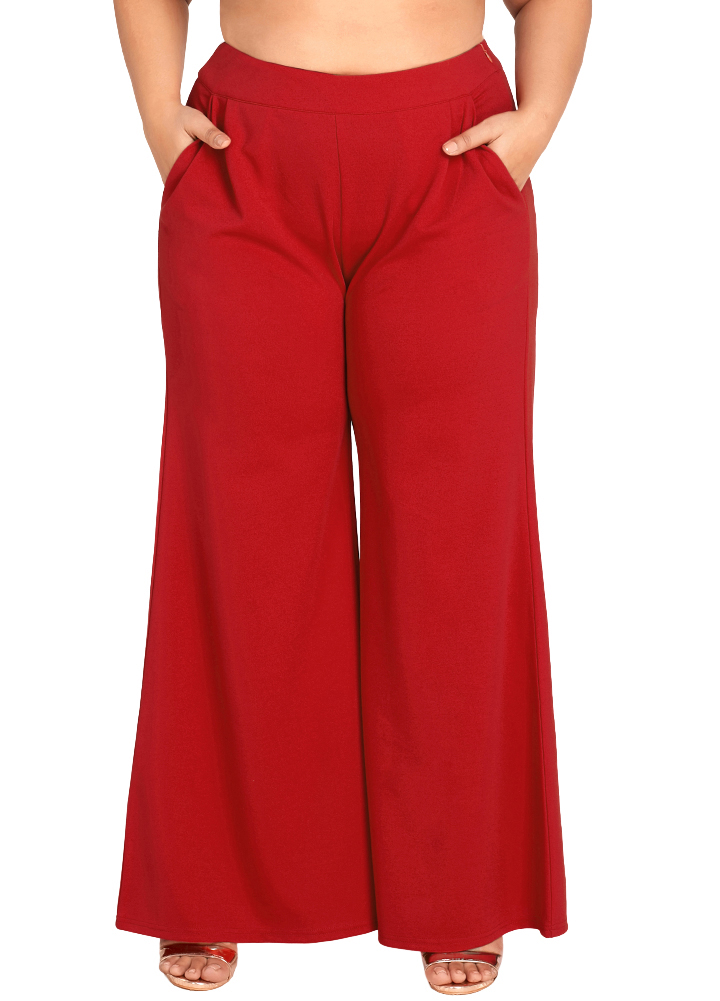 2019 Plus Size   Wide     Leg     Pants   for Women High Waist New Casual Loose Trousers Oversize 3XL Ladies Pockets Solid Flare   Pants   Red