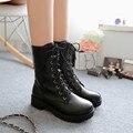 Nova moda feminina botas 2017 rendas até dedo do pé redondo das mulheres do punk botas de plataforma outono botas militares de combate botas de segurança do sexo feminino