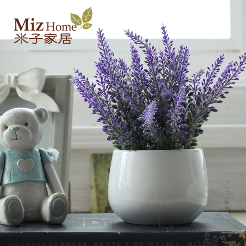 Aliexpress.com : Buy Miz Home Lavender Artificial Flower Potted Decor for Home Good Quality