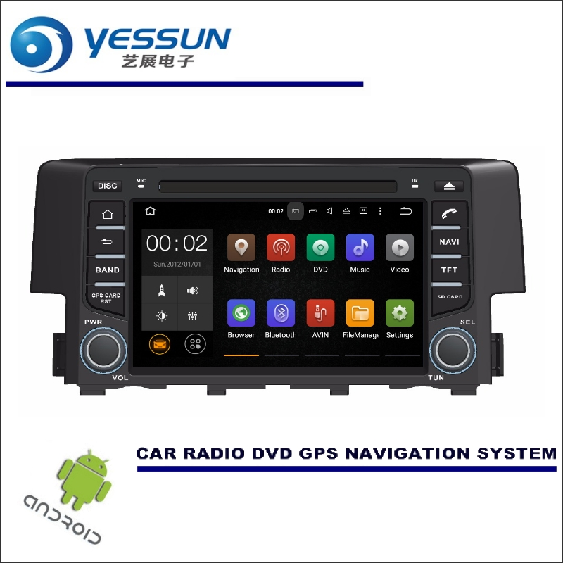 YESSUN Wince / Android Car Multimedia Navigation System For Honda Civic 2016~2017 CD DVD GPS Player Navi Radio Stereo HD Screen