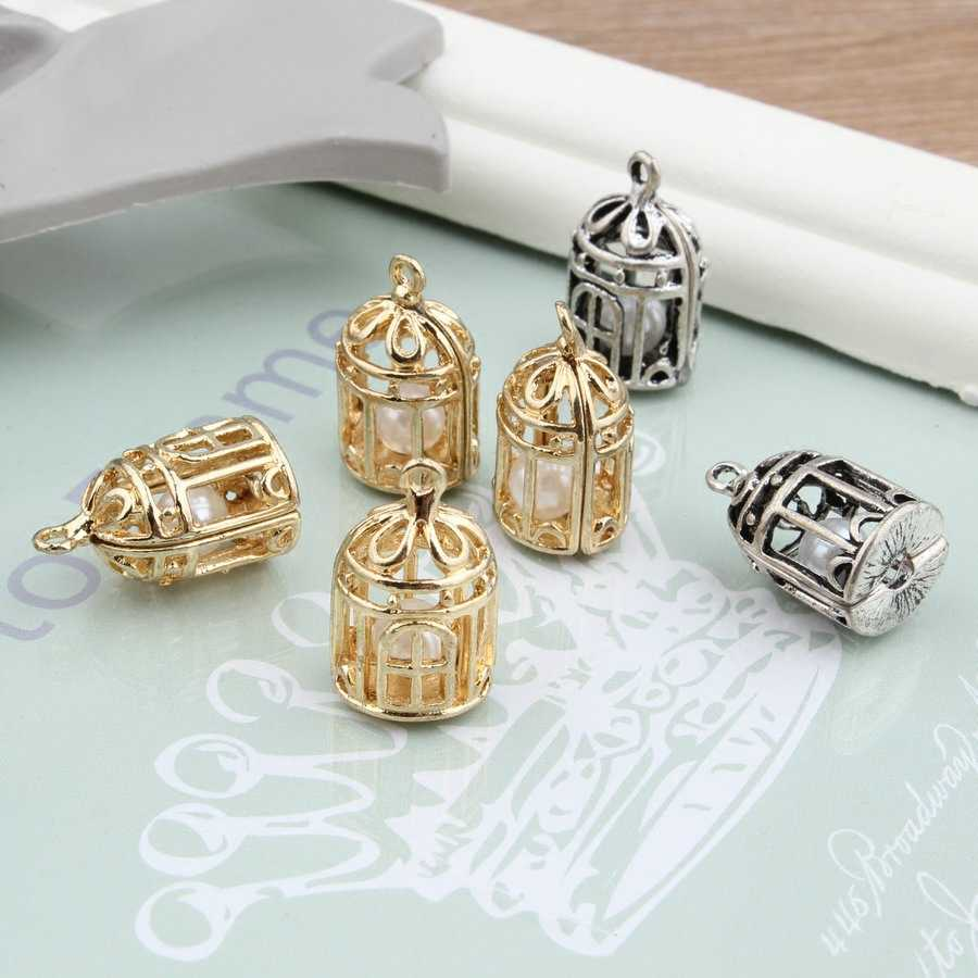 MRHUANG 10pcs Birdcage กับ Pearl ภายใน Antique Bronze จี้ Charms สำหรับ DIY Hand made