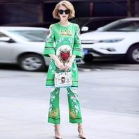 Women Shirt Pants Suits 2018 Summer Two Pieces Blouse Sets 2 Pcs Print Green High Quality